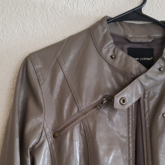 Poetry Jackets & Blazers - Poetry Clothing Faux Leather Tan Jacket
